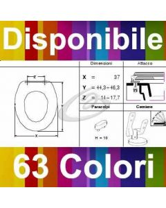 COPRIWATER CETUS BASIC SANINDUSA SOFT-CLOSE - DISPONIBILE IN 63 COLORI - MADE IN ITALY