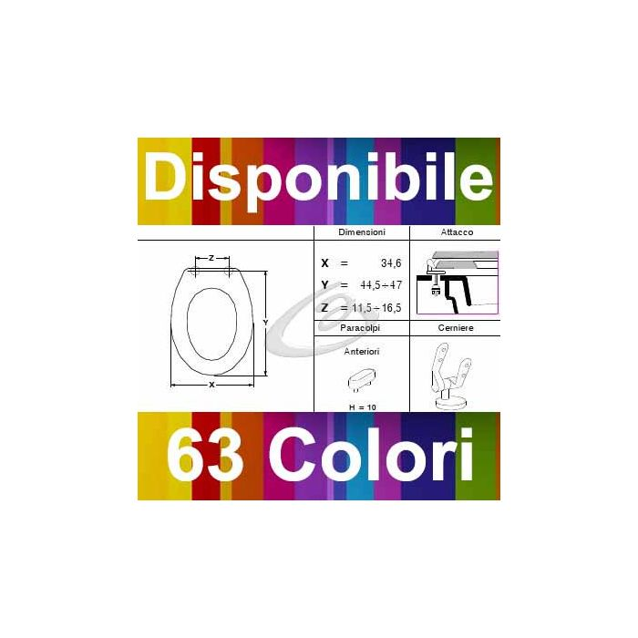 COPRIWATER IDEAL STANDARD ELLISSE - DISPONIBILE IN 63 COLORI - MADE IN ITALY