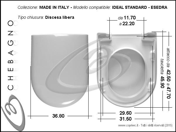 Esedra Ideal Standard Sedile Wc Termoindurente Copriwater Avvolgente Bianco Made In Italy