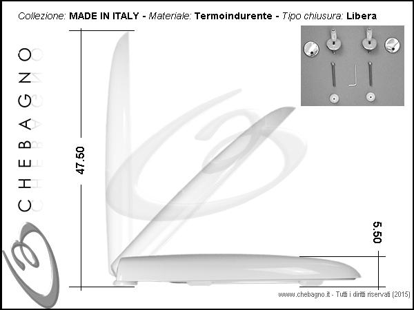 Esedra ideal standard sedile wc termoindurente copriwater for Sedile wc ideal standard esedra
