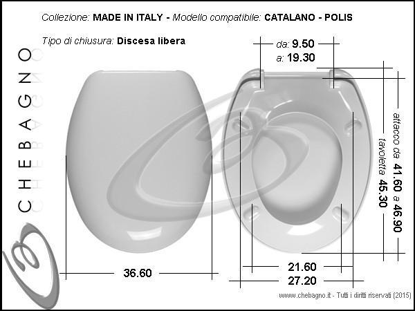 Copriwater Sedile WC per CATALANO vaso POLIS BIANCO Bianco