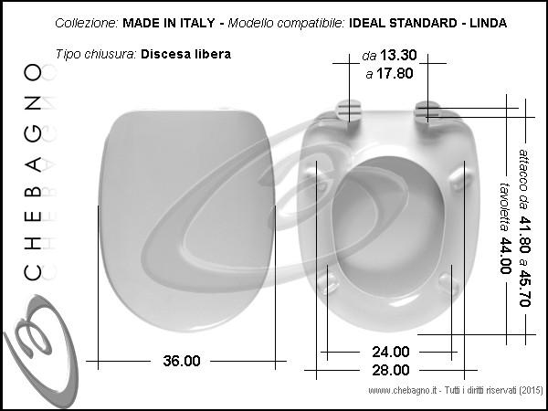 Sedile Wc Ideal Standard Linda.Linda Ideal Standard Sedile Wc Termoindurente Copriwater Bianco Made