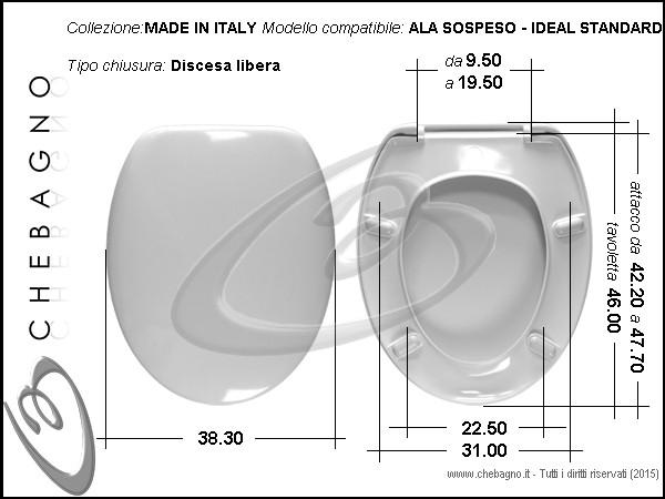 Ala sospeso ideal standard sedile wc termoindurente for Ideal standard cantica copriwater