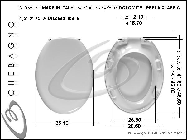 Sedile Wc Dolomite Perla.Perla Classic Dolomite Sedile Wc Termoindurente Copriwater Avvolgente Bianco Made In Italy