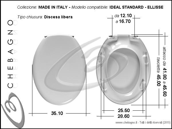 Sedile Wc Ideal Standard Ellisse.Ellisse Ideal Standard Sedile Wc Termoindurente Copriwater Avvolgente Bianco Made In Italy