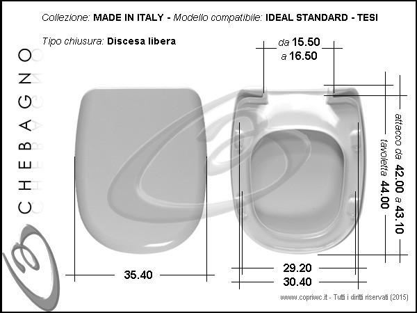 Sedile Wc Tesi Ideal Standard.Tesi Ideal Standard Sedile Wc Termoindurente Copriwater Avvolgente