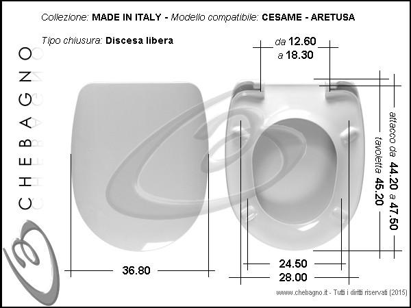 Sedile Wc Cesame Aretusa.Aretusa Cesame Sedile Wc Termoindurente Copriwater Avvolgente Bianco Made In Italy