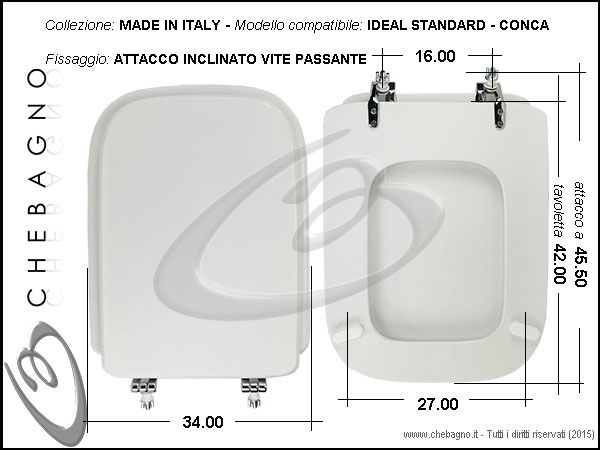 copriwater ideal standard conca disponibile in 63 colori