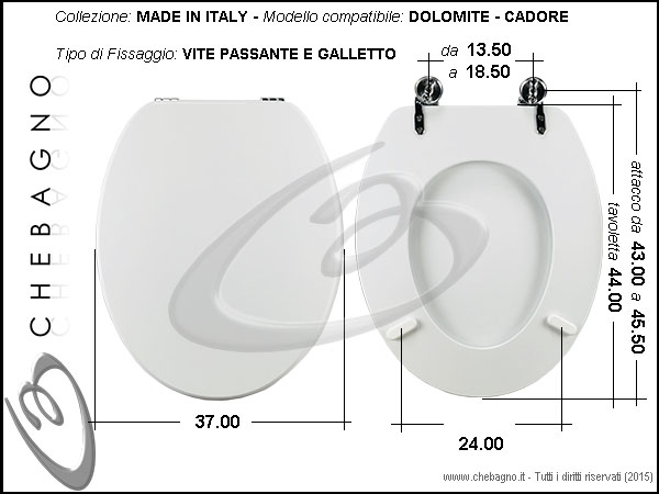 Copriwater cadore dolomite disponibile in 63 colori for Tavoletta wc dolomite
