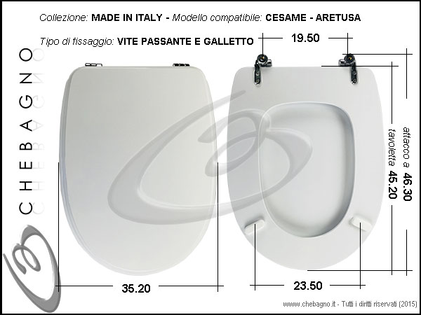 Sedile Wc Cesame Aretusa.Copriwater Cesame Aretusa Disponibile In 63 Colori Made In Italy