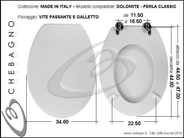 Sedile Wc Dolomite Perla.Copriwater Dolomite Perla Classic Disponibile In 63 Colori Made In Italy