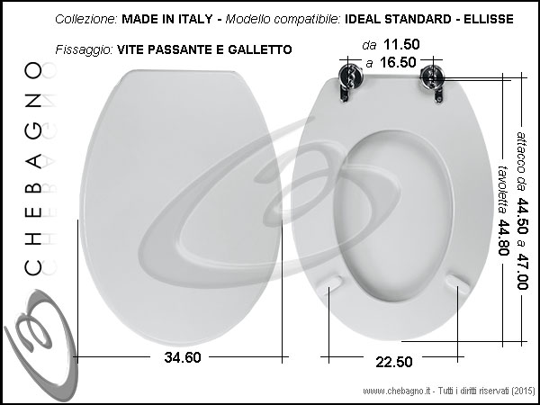 Copriwater ideal standard ellisse disponibile in 63 for Ideal standard cantica copriwater