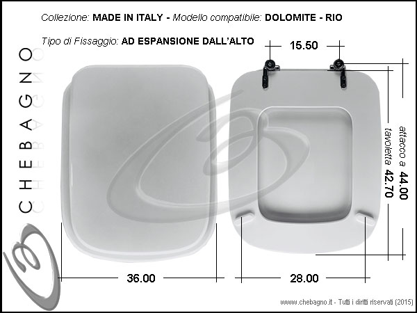 Copriwater dolomite rio disponibile in 63 colori made for Tavoletta wc dolomite