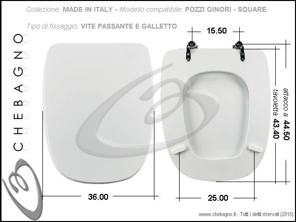 Sedile Per Water Pozzi Ginori.Copriwater Pozzi Ginori Square Disponibile In 63 Colori Made In Italy