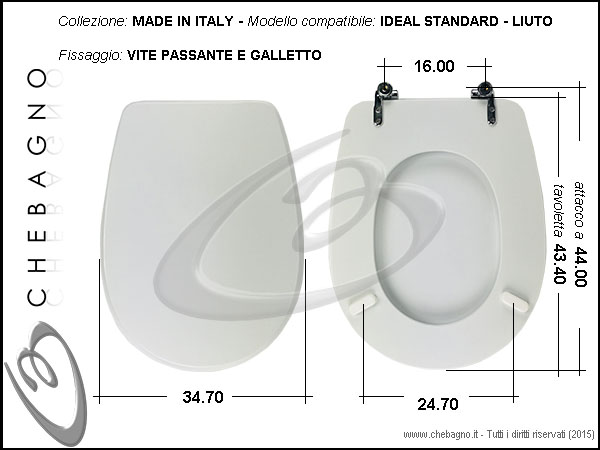 Sedile Wc Ideal Standard Liuto.Copriwater Ideal Standard Liuto Disponibile In 63 Colori Made In Italy