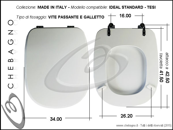 Sedile Wc Ideal Standard Serie Tesi.Copriwater Ideal Standard Tesi Disponibile In 63 Colori Made In Italy