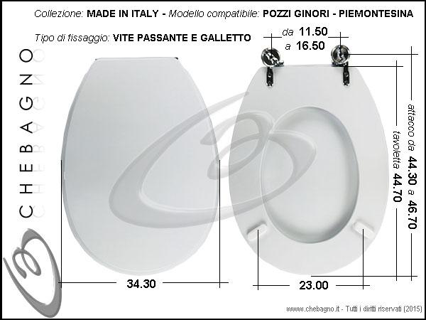 Pozzi Ginori Sedile Wc.Copriwater Pozzi Ginori Piemontesina Disponibile In 63 Colori Made In Italy