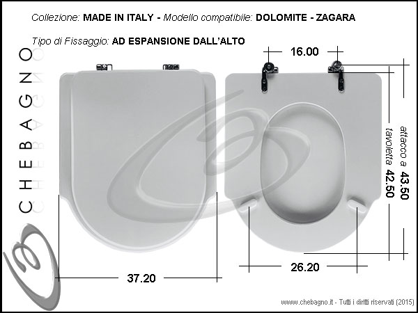 Copriwater dolomite zagara disponibile in 63 colori for Tavoletta wc dolomite