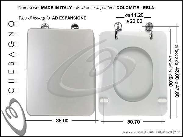 Copriwater dolomite ebla disponibile in 63 colori made for Tavoletta wc dolomite