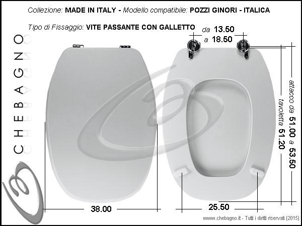 Pozzi Ginori Sedile Wc.Copriwater Pozzi Ginori Italica Disponibile In 63 Colori Made In Italy