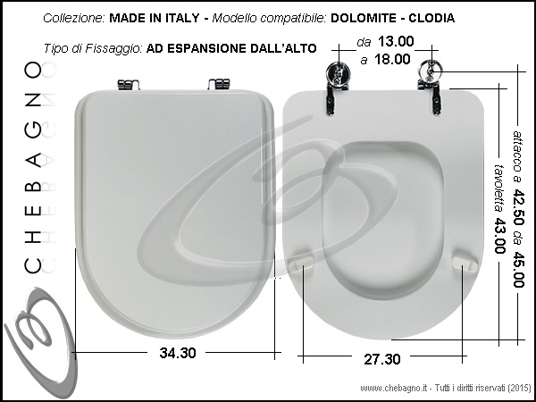 Copriwater dolomite clodia disponibile in 63 colori for Tavoletta wc dolomite