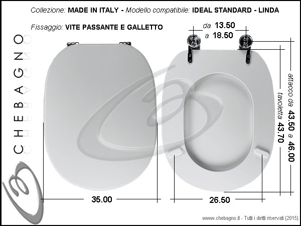 Sedile Copriwater Ideal Standard.Copriwater Ideal Standard Linda Disponibile In 63 Colori Made In Italy