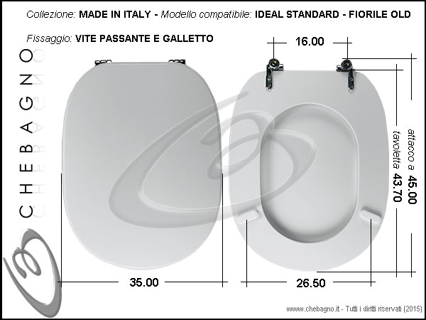 Sedile Water Ideal Standard.Copriwater Ideal Standard Fiorile Old Disponibile In 63 Colori Made In Italy