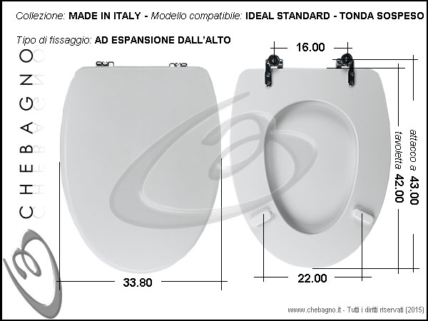 Copriwater ideal standard tonda sospeso disponibile in for Ideal standard cantica copriwater