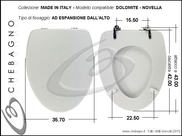 Sedile Wc Dolomite Novella.Copriwater Dolomite Novella Mini Disponibile In 63 Colori Made In Italy