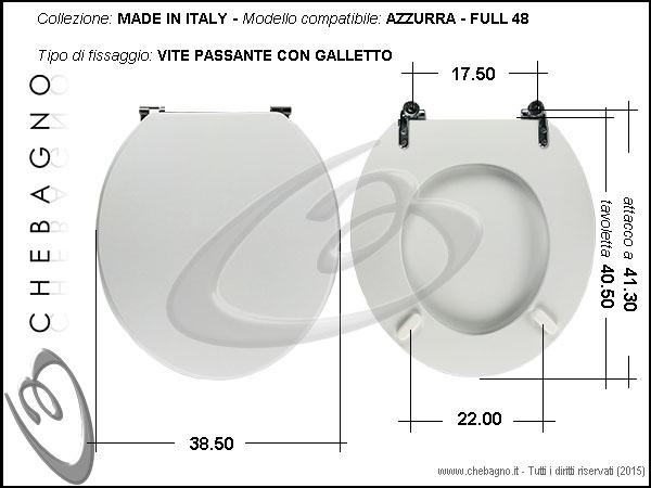 Ceramica Azzurra Full 48.Copriwater Azzurra Full 48 Disponibile In 63 Colori Made In Italy